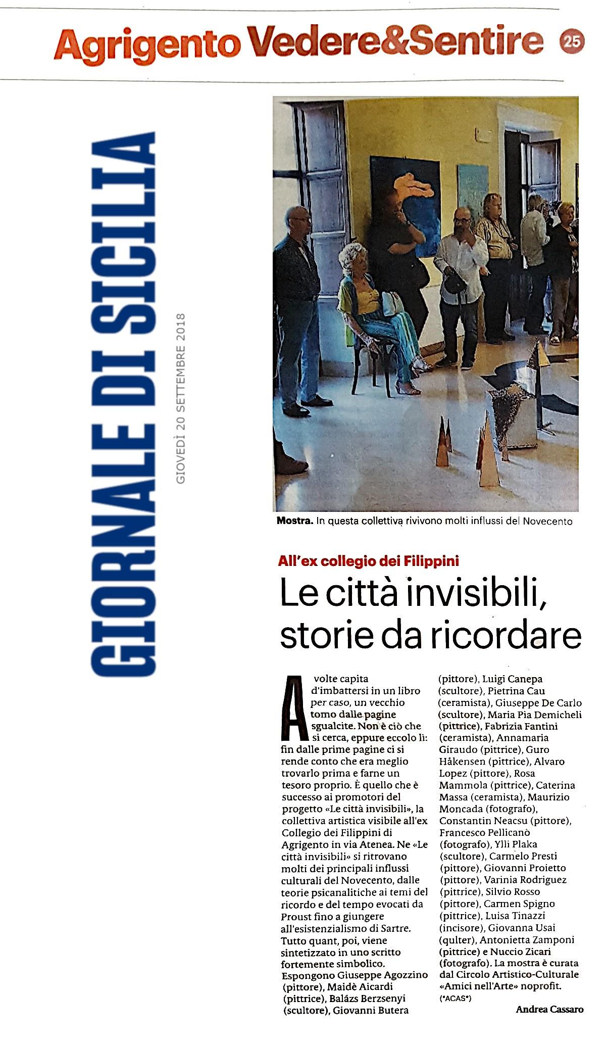Giornale di Sicilia AG20 settembre 2018